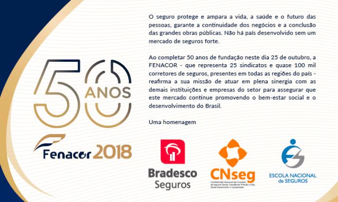 Anúncio em O Globo saúda os 50 anos da Fenacor